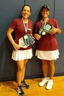District 7 Women's Doubles Pickleball champions Ali Fabbro and Andrea Bernal